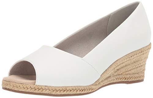 Easy Street Women's Monique Espadrille Open Toe Pump Wedge Sandal, White Linen, 9 2W US