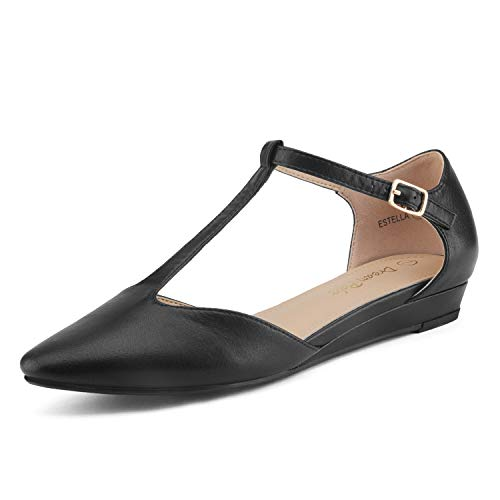 (DREAM PAIRS Women's Black Pu Low Wedge Ballet Flats Shoes Size 9.5 M US Estella)
