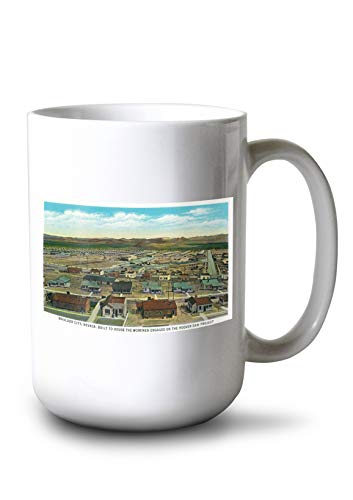 Lantern Press Boulder City, Nevada - Panoramic View of The Town for The Hoover Dam Workers (15oz White Ceramic Mug)