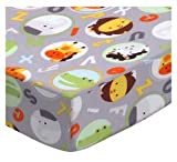 SheetWorld Fitted Cradle Sheet 18 x 36 - ABC Animals Gray - Made in USA
