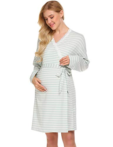 c8246b0eff8 Ekouaer Womens Maternity Pregnancy Labor Robe Delivery Nursing Nightgowns  Hospital Breastfeeding Gown S-XXL