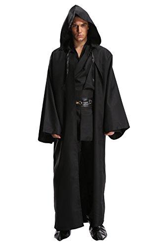 Obi Wan Kenobi Costume Pattern (Kasual Adult Unisex Hooded Outfit Halloween Dressing Cosplay Costume in Black Version, Size L)