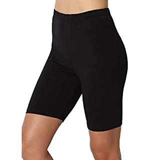 kdhgo Women Sport Yoga Solid Mid Thigh Stretch Cotton Span High Waist Active Short Leggings for Outdoor and Indoor Sport