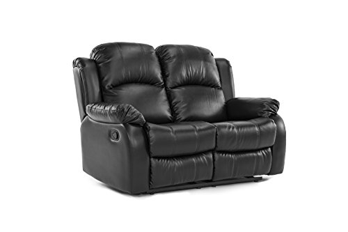 Classic Double Reclining Loveseat – Bonded Leather Living Room Recliner (Black)