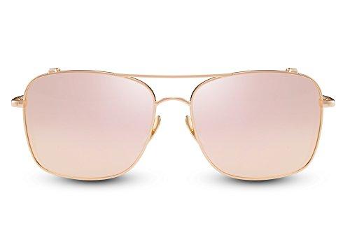 faites soleil de Cheapass aviateur Monture Ca effet Lunettes UV400 002 verres de Rondes invisible métal plats miroir Femmes Hommes Pilote qSECOw