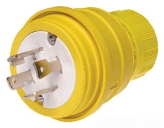 - Woodhead 28W76 Watertite Wet Location Locking Blade Plug, 3-Phase, 4 Wires, 3 Poles, NEMA L16-30 Configuration, Yellow, 30A Current, 480V Voltage