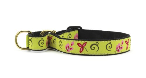 Green Floral Martingale Dog Collar - Medium (12.5-20 Inches) - 1 In Width
