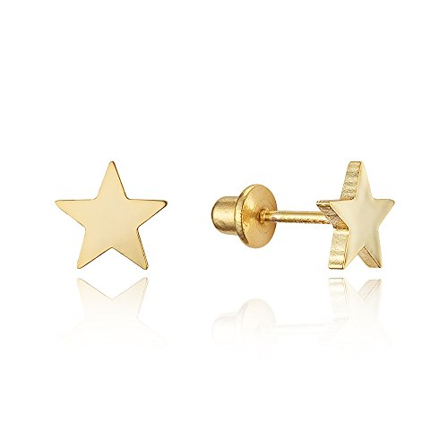 14k Gold Plated Brass Plain Star Screwback Baby Girls Earrings with Sterling Silver (14k Star Earrings)