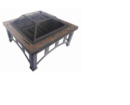 """30"""" Square Slate Table Top Fire Pit Wood Burning Bronze W/ Cover & Screen"""