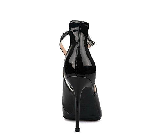 Boda Tacón Mujer Cruzar Del Puntiagudo Corte Sandalias Dedo Estilete Vestir Black Pie Zapatillas Fiesta Zapatos Tobillo Alto Correa AA6qHYw