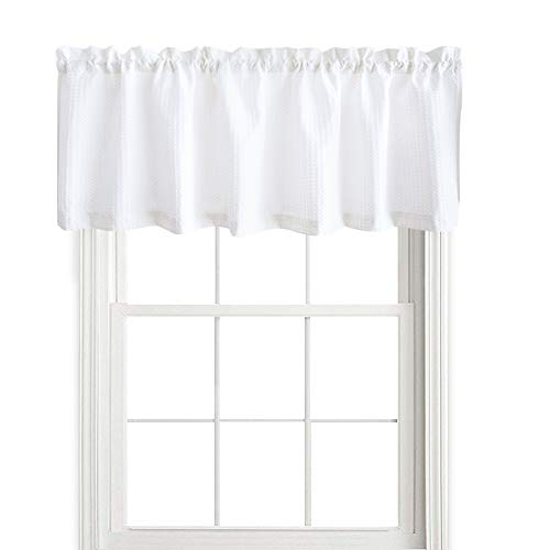 "jinchan Waffle Woven Textured Valance for Bathroom Water Repellent Window Covering (60"" x 18"", White, One Panel)"