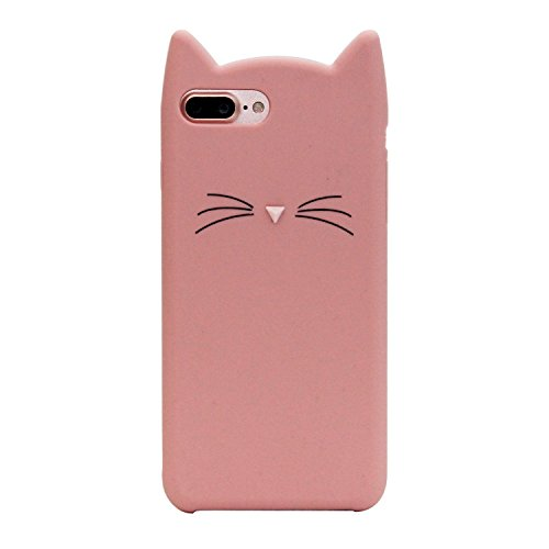 Apple iPhone 5 5S SE Silicone Case,Emily Fashion Super Cute 3D Cartoon Character Whiskers Cat Pink Mouse Protective Silicone Back Case Cover for Apple iPhone 5 5S - Hello 5s Case Kitty