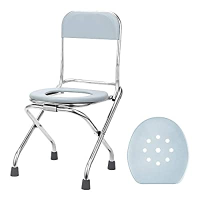 CKE Folding Commode Portable Bracket Toilet Seat with Cover Lid, Toilet Seat Converts into Folding Stool - Portable Potty Commode Chair, Perfect for Camping, Traveling, Hiking, Fishing, Outdoor Living