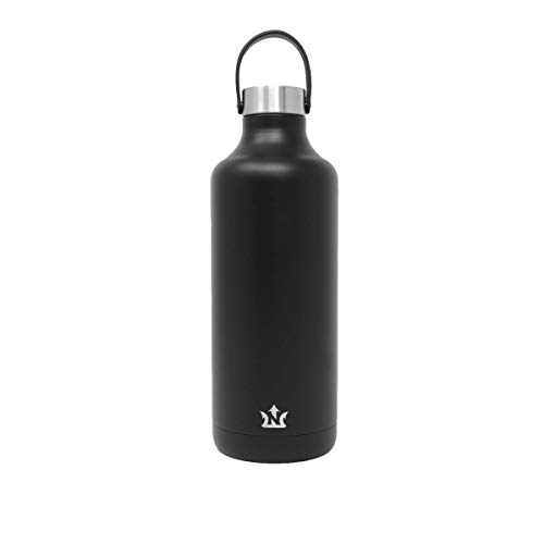 Neptune Bottle - Vacuum Insulated, Triple Wall Stainless Steel Water Bottle, with Interchangeable Carry Strap (Matte Black, 32oz) ()