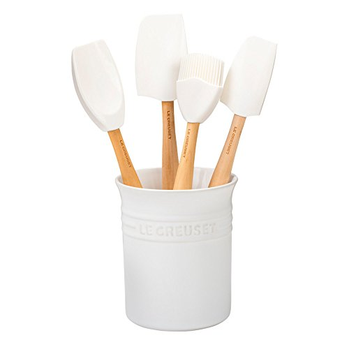 Le Creuset of America Craft Series 5Piece Utensil Set with Crock - White (Utensil Crock Large Stoneware)