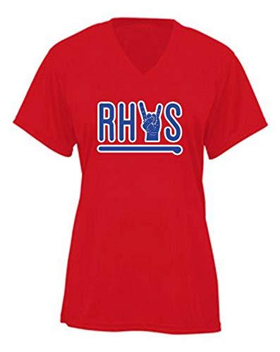 RED Philadelphia Rhys Home Run Rock Ladies V-Neck T-Shirt Adult