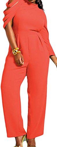 Orange Prison Jumpsuit Womens (Cruiize Womens Solid Irregular Sleeve Chiffon Wide Leg Loose Jumpsuits Orange Large)