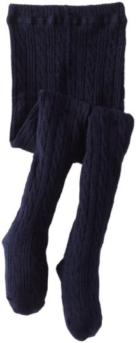 Jefferies Socks Little Girls'  Cable Tight, Navy, 8-10 -