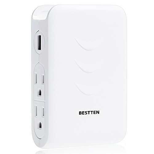 Bestten Wall Outlet Surge Protector with Dual USB Charging Ports (3.1A) and 4 Outlets, Top Cell Phone Dock, Portable for Travel or Home/Office Use