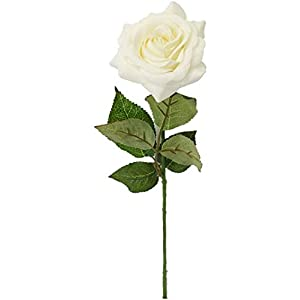 """Sweet Home Deco 17"""" Real Touch Rose Artificial Single Spray Set of 2 (White)"""