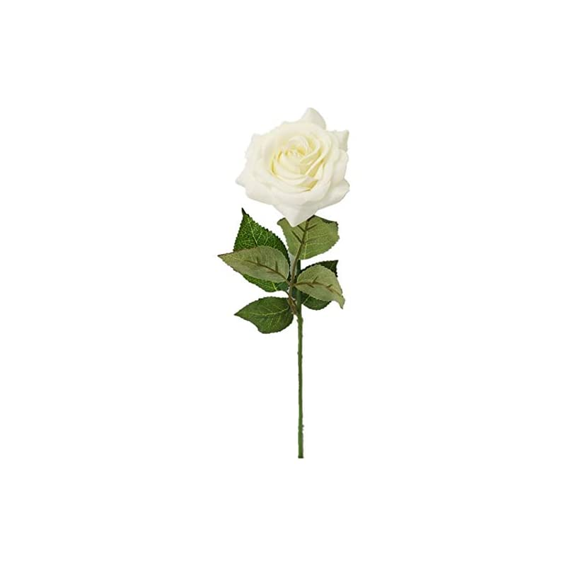 silk flower arrangements sweet home deco 17'' real touch rose artificial single spray set of 2 (white)