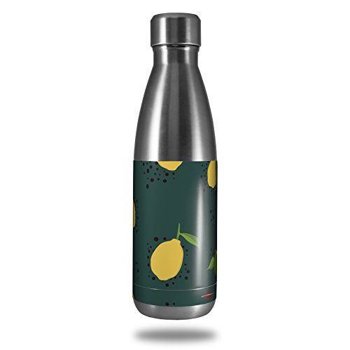 Skin Decal Wrap for RTIC Water Bottle 17oz Lemon Dark Teal (BOTTLE NOT INCLUDED) by WraptorSkinz