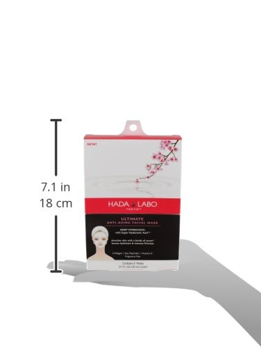 51r36ZPDKnL Hada Labo Tokyo Anti-Aging Facial Sheet Mask 4 masks 2.8 Fl. Oz each - with Super Hyaluronic Acid and Vitamin E - 10 minutes at home facial, fragrance free, boosts hydration and helps restore firmness