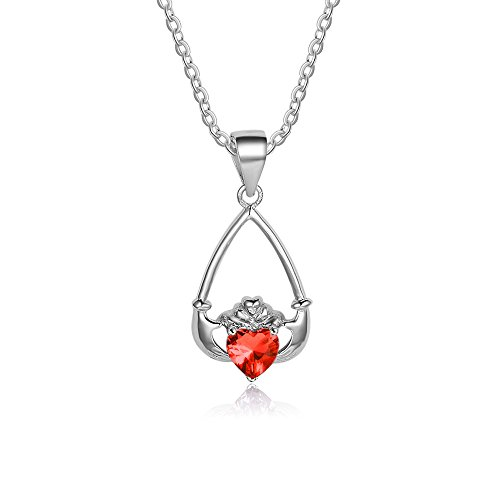 Lam Hub Fong Personalized AAA Cubic Zirconia July Birthstone Necklace For Women Mothers Sterling Silver Claddagh Promise Necklace Pendant For Her