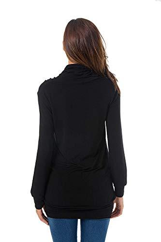 Shirts Casuale Monocromo Baggy Donna Battercake Maniche Alto A A Autunno con Lunghe Primaverile Donne Tasche Bluse Elegante Schwarz Camicetta Felpa Camicia Collo Felpe Casual HaTxdqxOw
