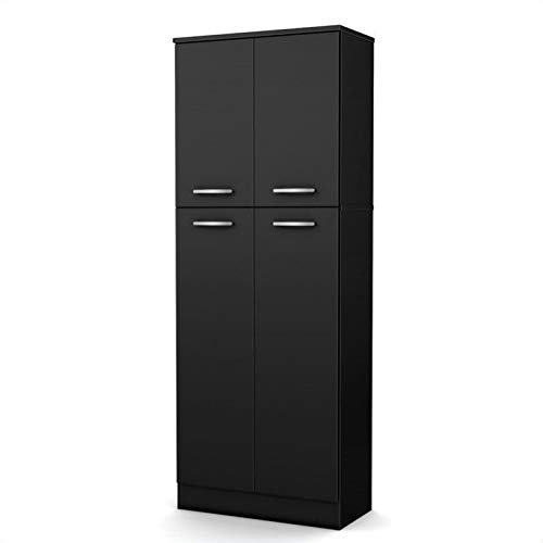 Office Furniture Panels Source - South Shore 4-Door Storage Pantry with Adjustable Shelves, Pure Black