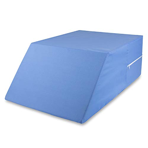 "(DMI Ortho Bed Wedge Elevated Leg Pillow, Supportive Foam Wedge Pillow for Elevating Legs, Improved Circulation, Reducing Back Pain, Post Surgery and Injury, Recovery, Blue, 10"" x 20"" x 30.5"")"