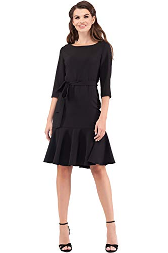 VILONNA Women's Elegant Modest 3/4 Sleeve Crewneck Belted Semi Formal Midi Dress with Pockets (Black, Medium/US 8-10) (Belted Little Black Dress)