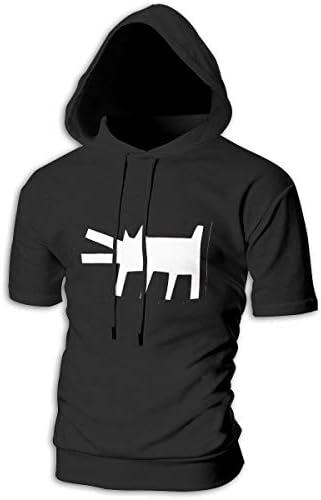 Tシャツ シャツ ティーシャツ スウェットシャツ パーカー ストレッチ メンズ 半袖 フード付き キースヘリング ストリートアートの先駆者 スポーツtシャツ 吸汗速乾 トレーニング ジムtシャツ 通気性 黒