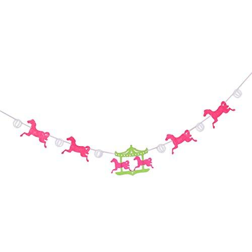 (Baoblaze Cartoon Carousel Horse Fabric Banner Wedding Kids Birthday Garland Hanging Bunting Prop Boys Girls Room DIY)