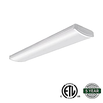 Hykolity 4ft 54W LED Garage Shop Light Wraparound Flushmount Commercial Office  Ceiling Lamp [105W Fluorescent