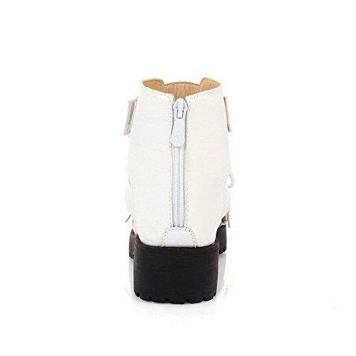 AmoonyFashion Womens Open Toe Zipper Pu Solid Kitten Heels Platforms-Sandals White 4nuUsMnzA