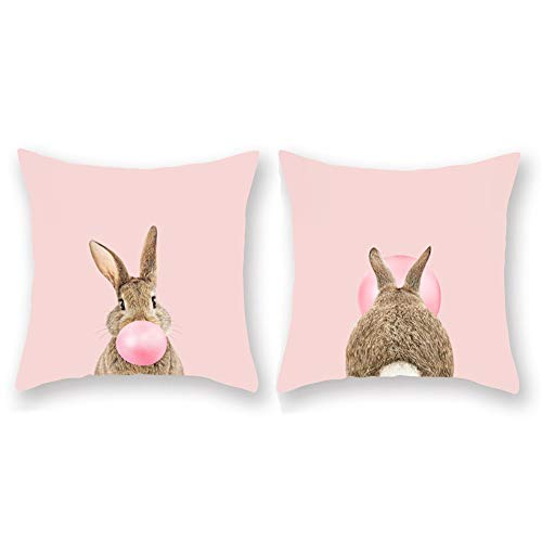 Aremetop 2 Pack Pink Animal Bunny Pillow Covers Lovely Rabbit Blowing Bubbles Gum Decorative Super Soft Easter Throw Pillow Case Decorative Cushion Cover Standard Square 18''x18''