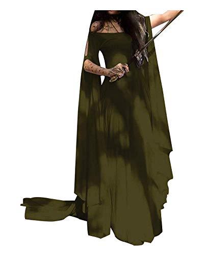 Momo Womens Plus Size Greek Roman Goddess Costume Renaissance Medieval Costume Dress Over Long Dresses (Army Green, -