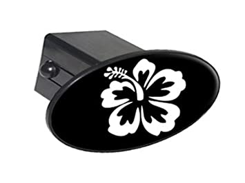 Hibiscus Flower White On Black Oval Tow Trailer Hitch Cover Plug Insert 1 1//4 inch 1.25