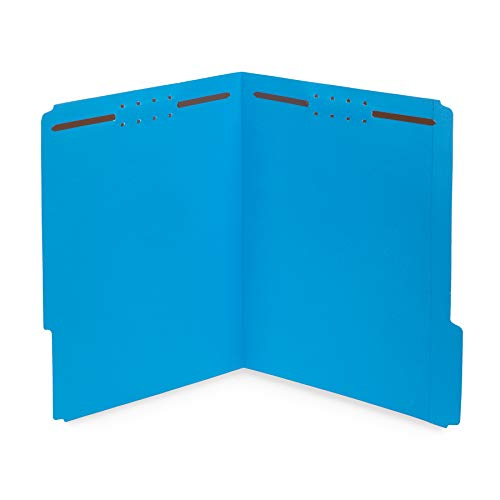 50 Fastener File Folders- 1/3 Cut Reinforced tab- Durable 2 Prongs Designed to Organize Standard Medical Files, Law Client Files, Office Reports- Letter Size, 50 Pack (Blue)
