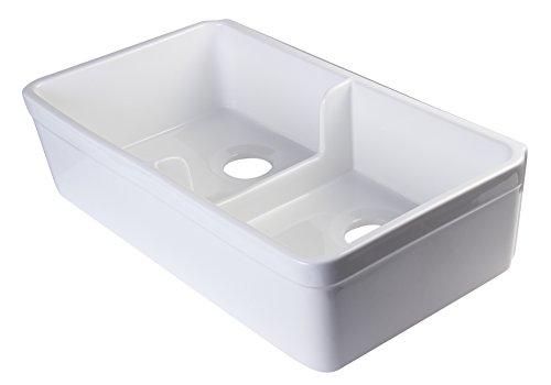 Fireclay Double Bowl Farmhouse - ALFI brand AB5123 32-Inch  Short Wall Double Bowl Fireclay Farmhouse Kitchen Sink with 1 3/4-Inch  Lip, White