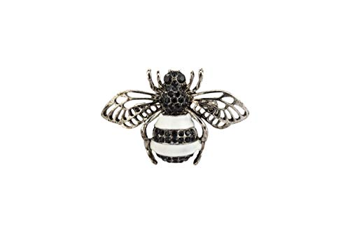 Knighthood Black White and Silver Bee with Black Stone Detailing Brooch