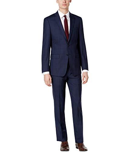 Calvin Klein Mens Wool Two Button Suit, Blue, 40 Regular / 33W x UnfinishedL