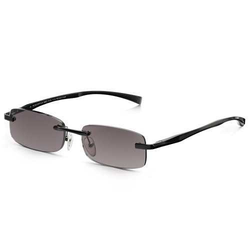 Read Optics Mens Black Sun Readers Alloy-Tech Metal Rimless Rectangle Reading Glasses +2.0 by Read - Optics Tech
