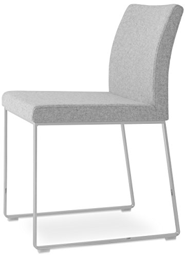 Soho Concept AriaWD-SBWng-LG Aria Wood Dining Chair with Solid Beech Wenge Base, Light Grey Leatherette (Aria Chair)