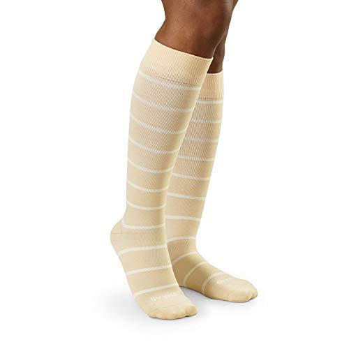COMRAD Compression Socks (15-25 mmHg) for Women & Men - The Best Socks for Travel, Flights, Pregnancy, Running, Edema, Diabetic, Recovery, Business or Casual Everyday Wear (Almond/Milk, Medium) (Best Travel Wear For Women)
