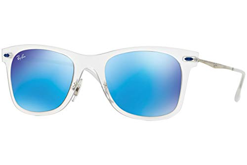 Ray-Ban Wayfarer Light RB4210 - 646/55 Sunglasses Transparent; Silver w/ Blue Mirror 50mm