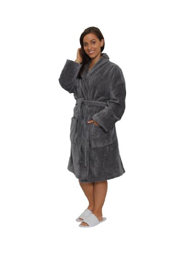 Terry Velour Shawl Collar Robe - Ankle Length Bathrobe for Women and Mens Robe Velour Terry Shawl Collar Bathrobes, L/XL, GREY