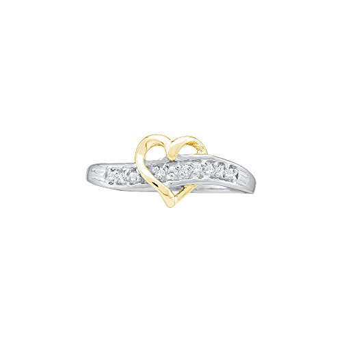 Roy Rose Jewelry 14K White Gold Ladies Diamond-accent Two-tone Heart Band Ring 1/20 Carat tw ~ Size 7 - 2 Tone Diamond Heart
