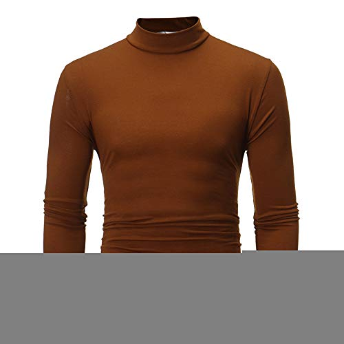 POQOQ Henley Shirts Men Neck Long Sleeve Daily Look Linen Walden Blended Thermal 3 Button Recluse Short-Sleeve XXL Coffee ()